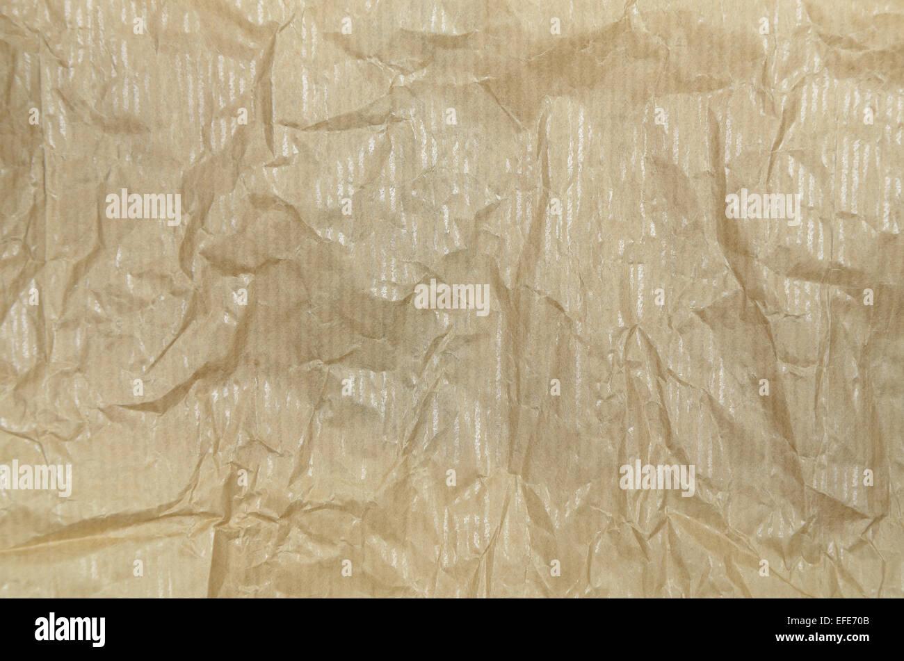 L'ocre froissé de papier sulfurisé, vide, Close up, full frame Photo Stock