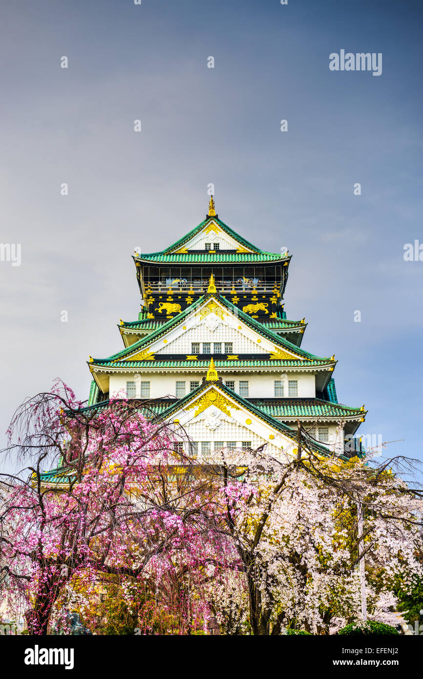 Osaka, Japon au château d'Osaka au printemps. Photo Stock