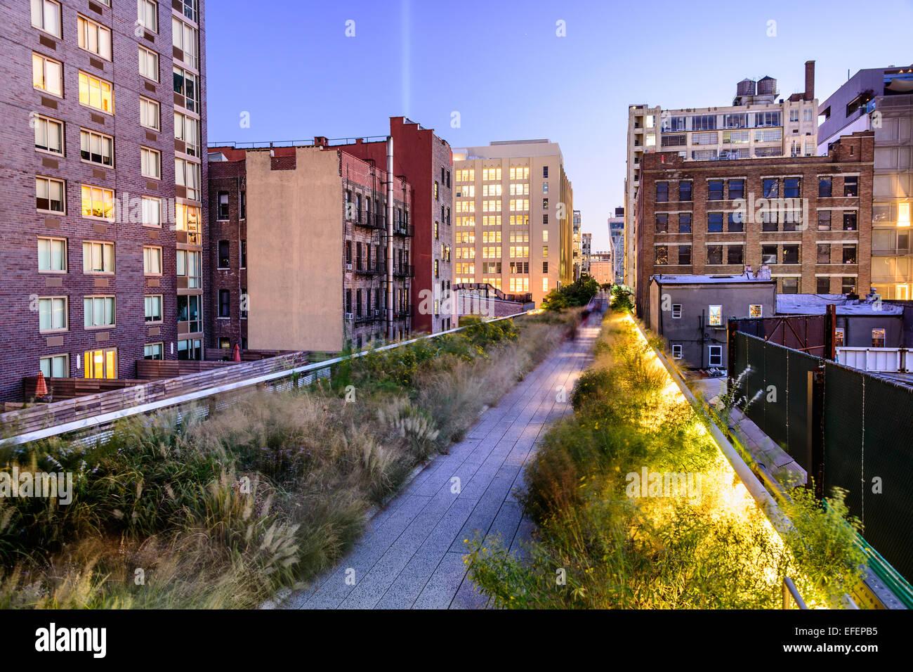 La ville de New York, USA sur le parc High Line. Photo Stock