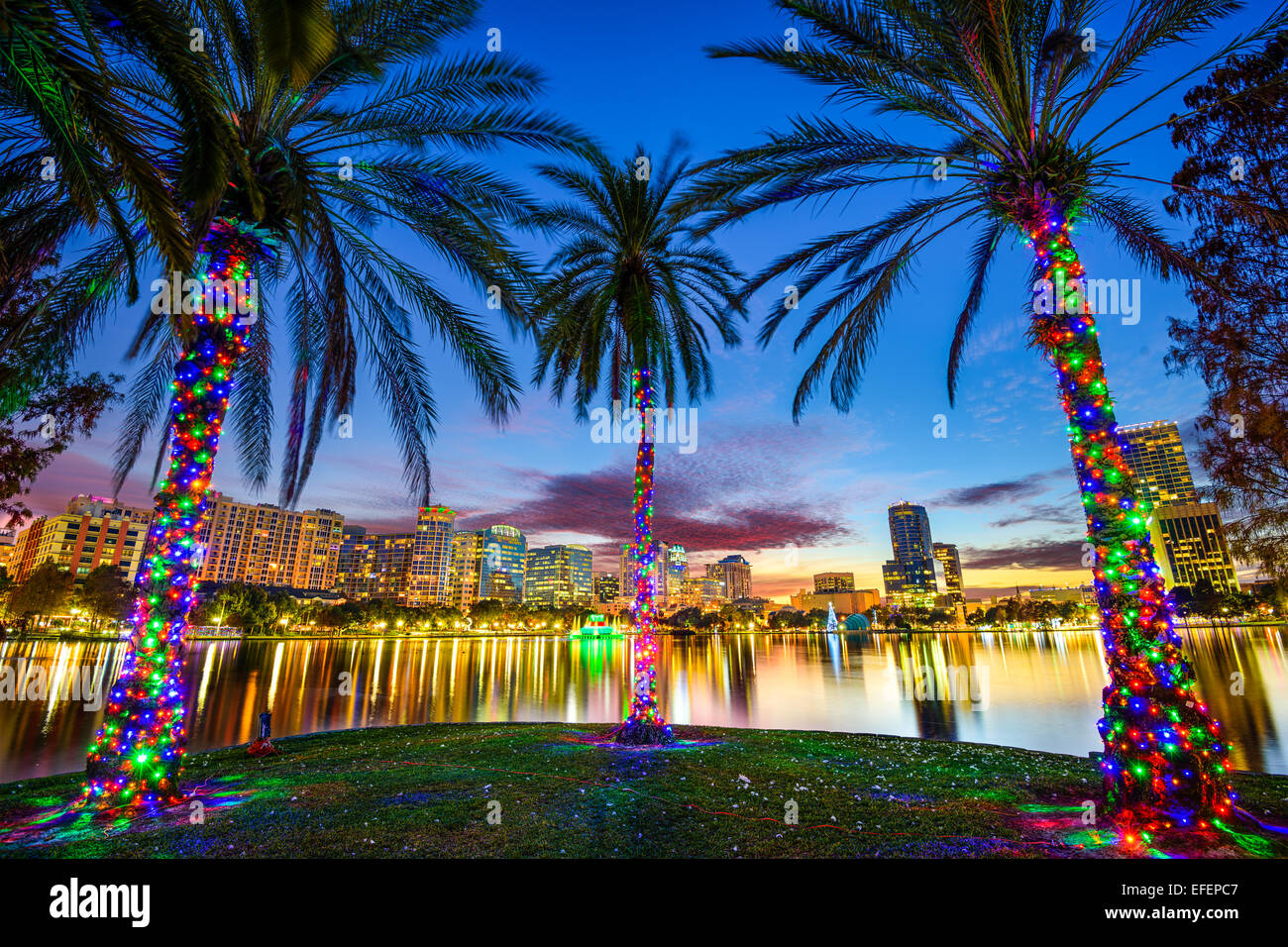 Orlando, Floride, USA Centre-ville paysage urbain du lac Eola. Photo Stock