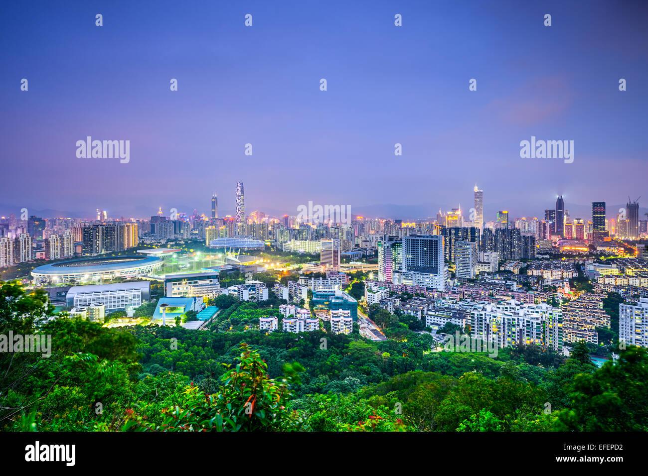 Shenzhen, Chine centre-ville paysage urbain. Photo Stock