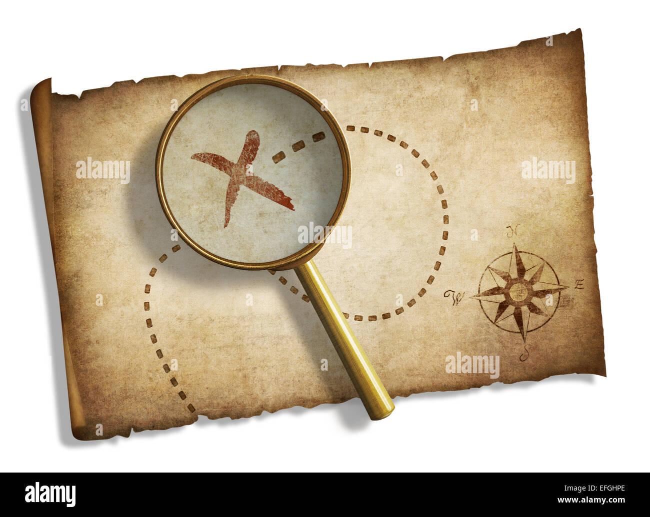 Carte Au Tresor Loupe.Ancienne Loupe Et Carte Au Tresor Des Pirates Isoles Banque