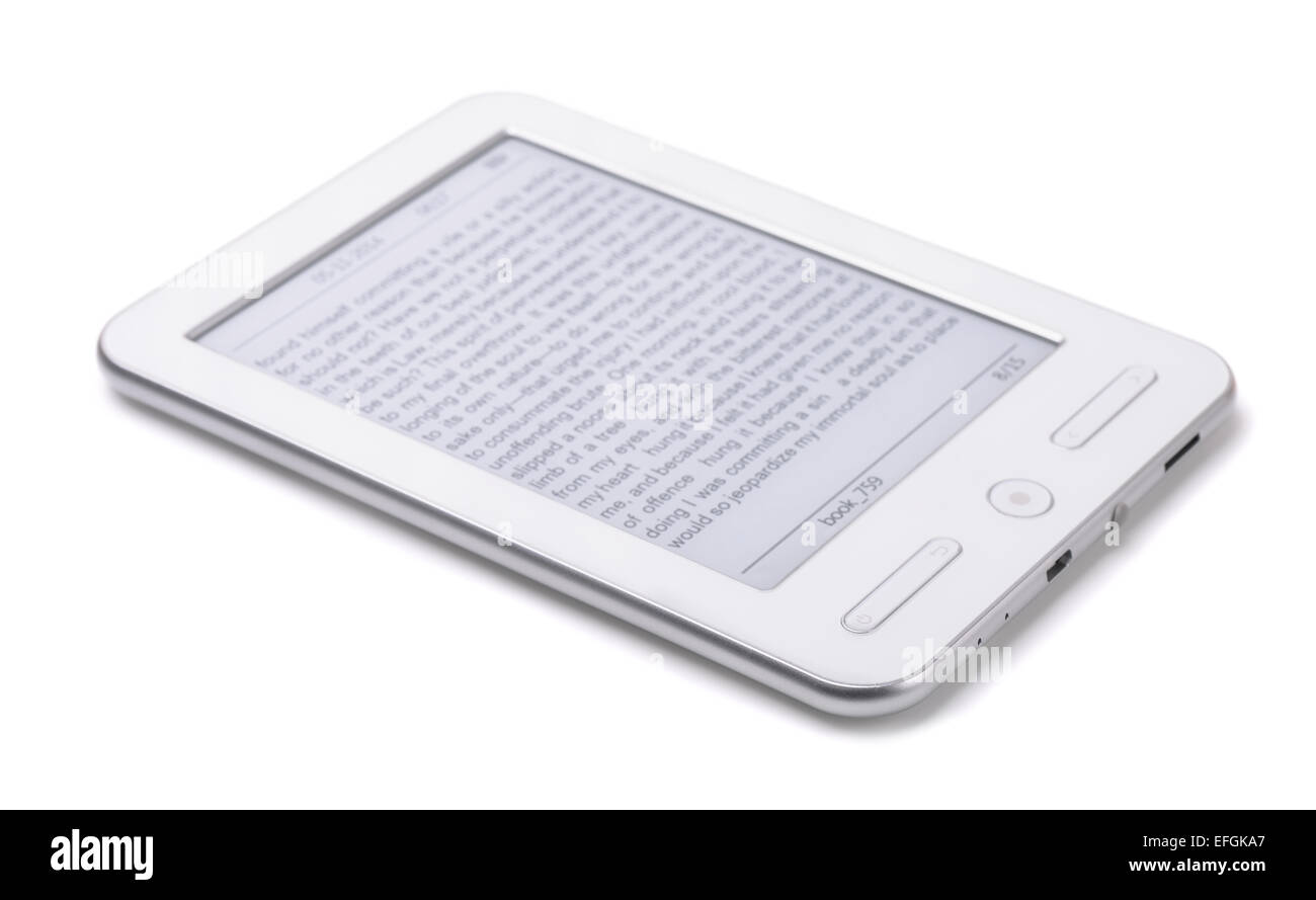 E-Book Reader isolated on white Photo Stock