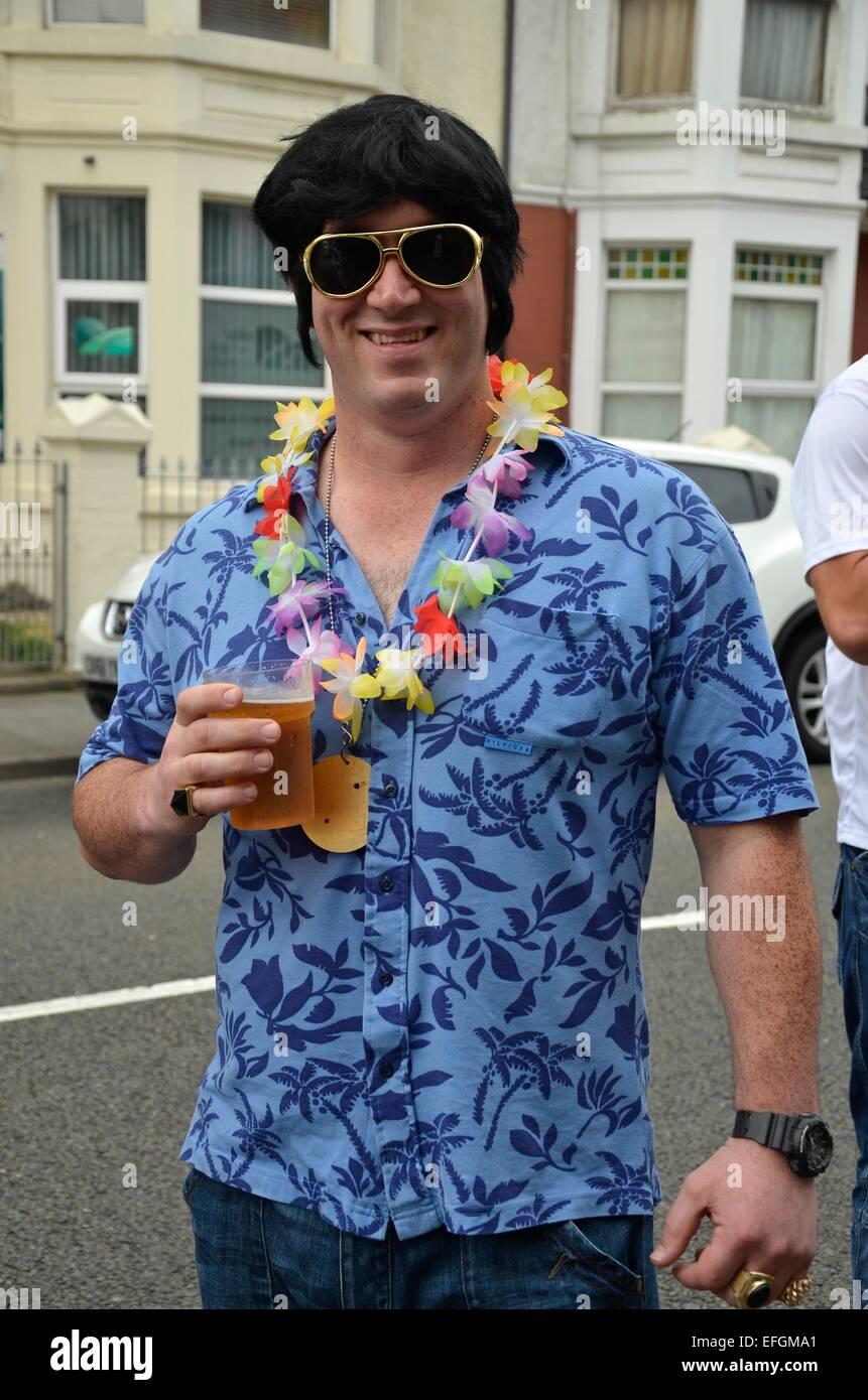 Imitateur d'Elvis Elvis au Festival (The Elvies), Porthcawl, South Wales, UK Photo Stock
