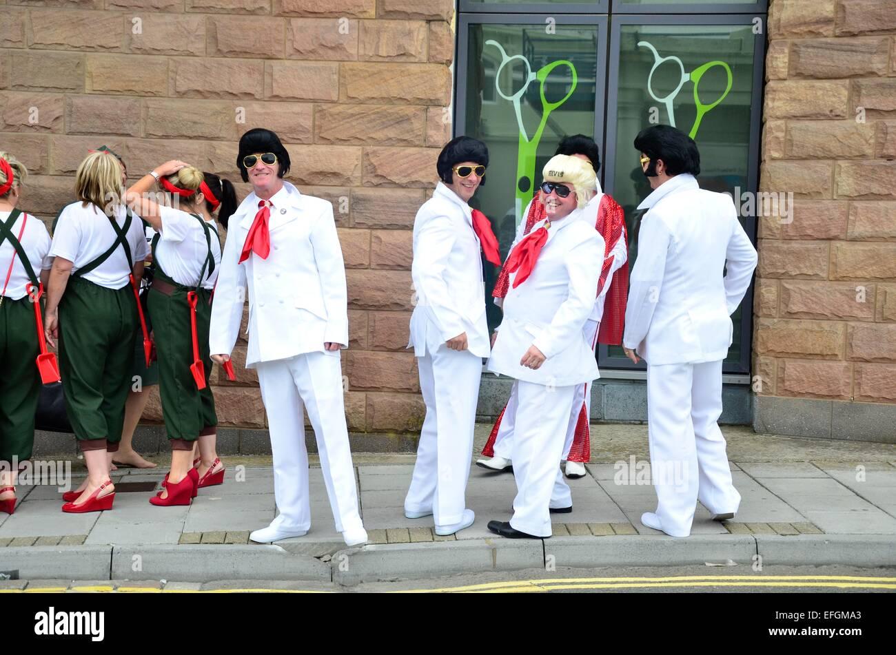 Les imitateurs d'Elvis Elvis au Festival (The Elvies), Porthawl, Nouvelle-Galles du Sud, UK Photo Stock