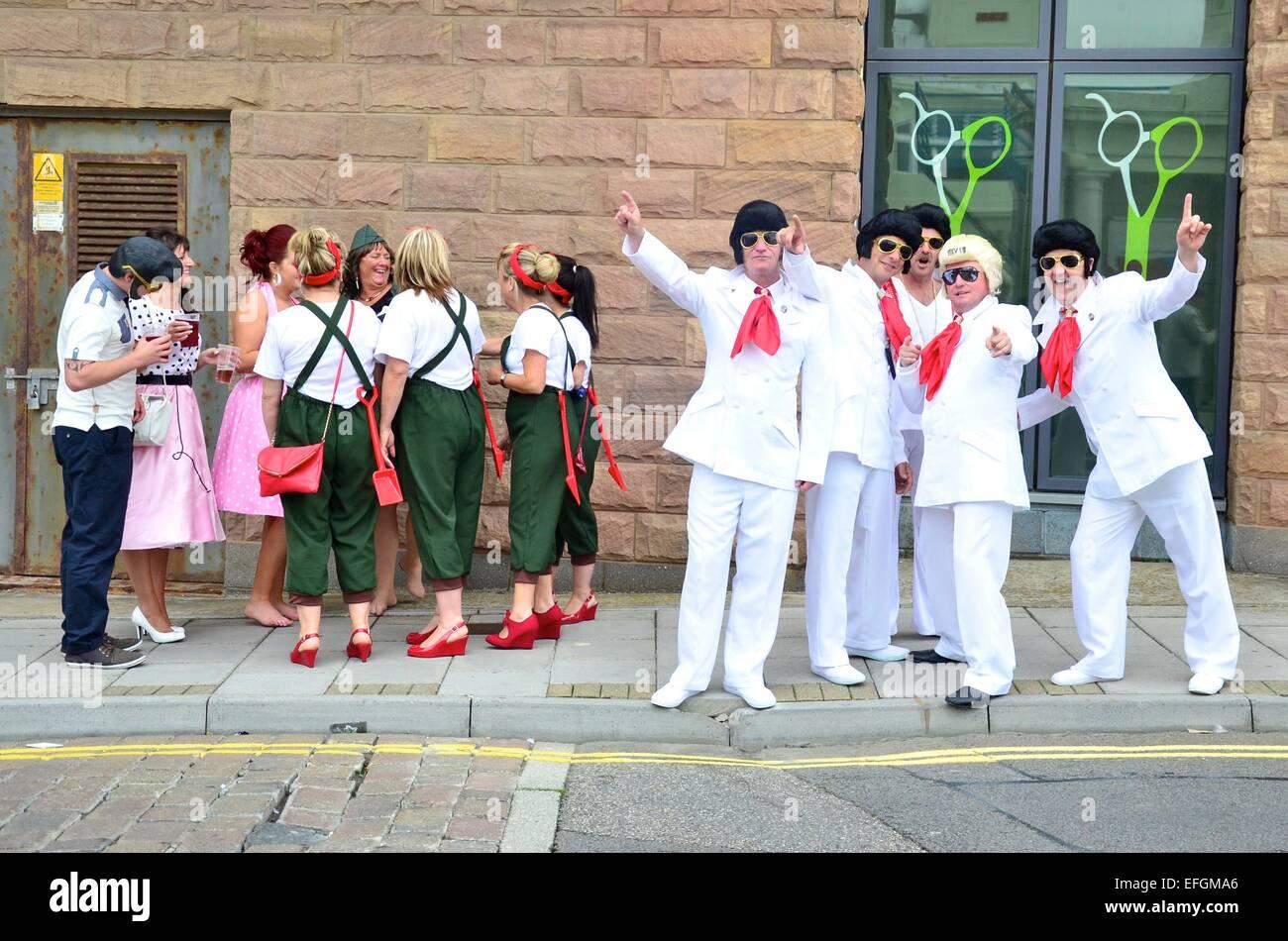 Les imitateurs d'Elvis Elvis au Festival (The Elvies), Porthcawl, South Wales, UK Photo Stock