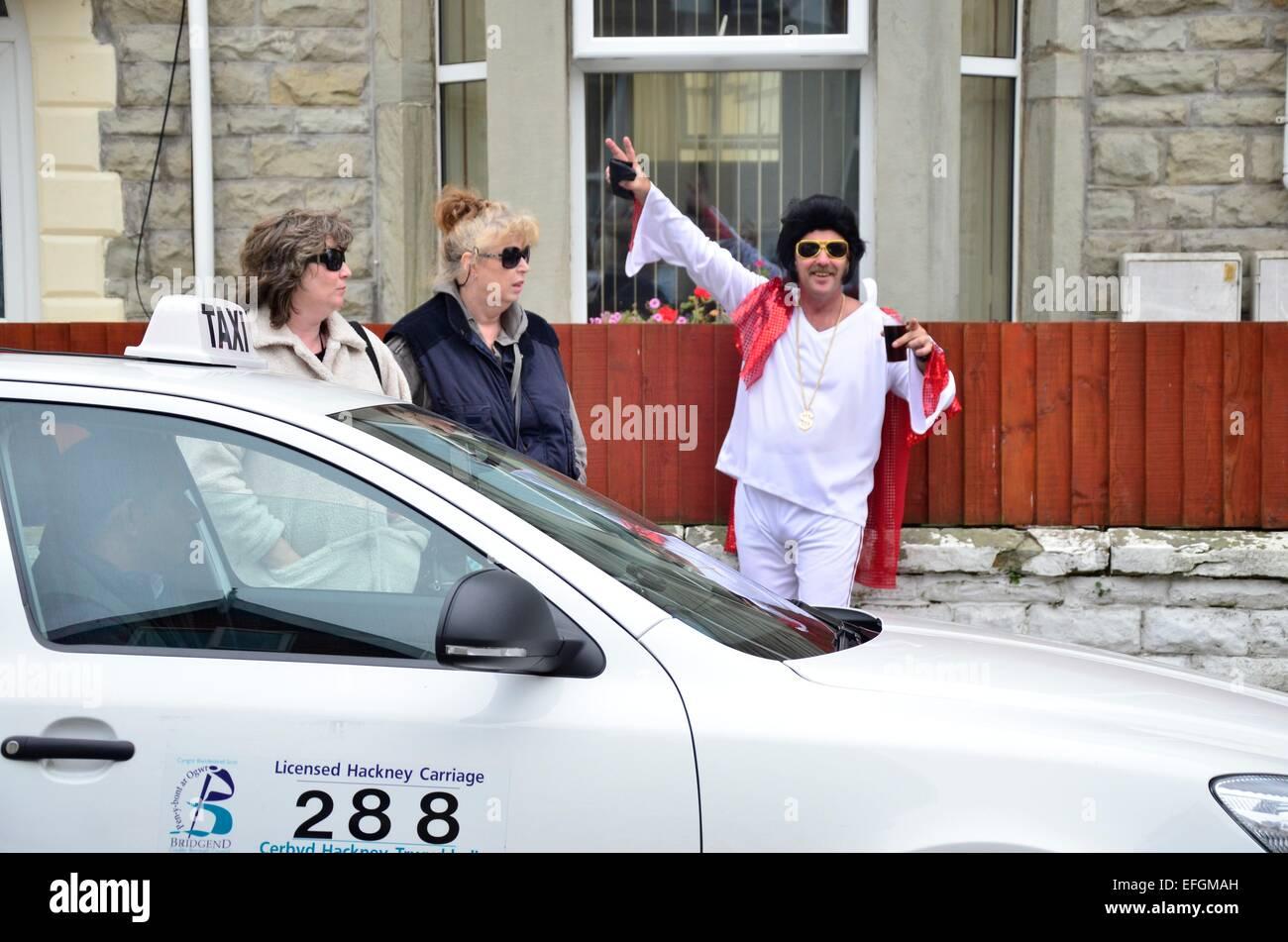 Un imitateur d'Elvis au Festival Elvis 2013 Elvies (Le), de Porthcawl, Nouvelle-Galles du Sud Photo Stock