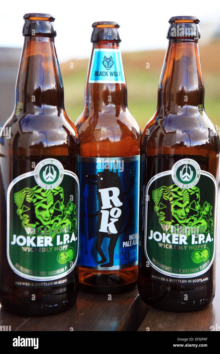 Bouteilles de Joker L.P.A de Corée et une partie de la gamme de bières artisanales écossais Williams Photo Stock