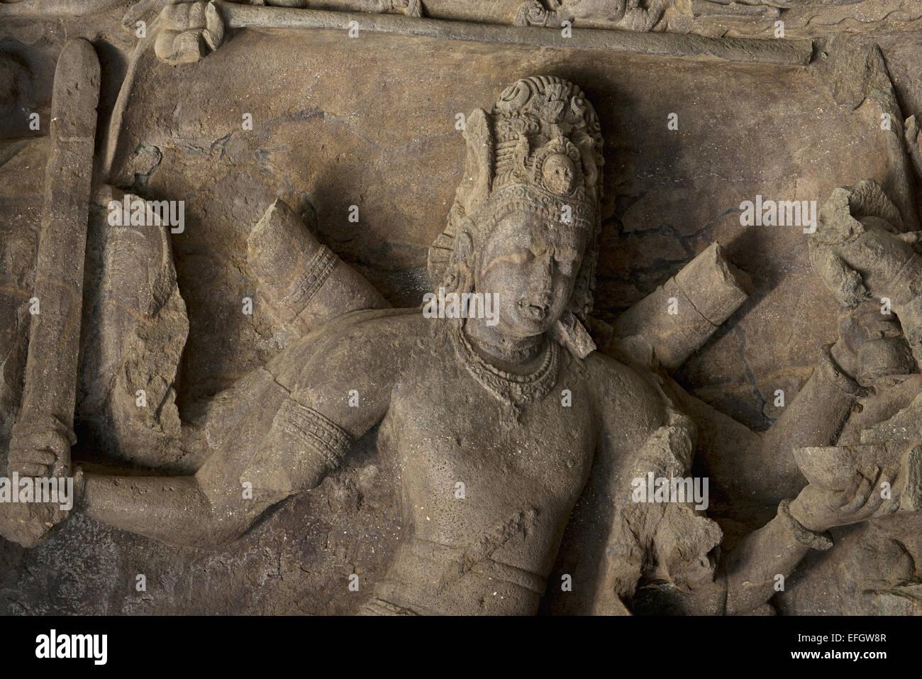 La grotte 1 Andhakasura-vadha-murti. Plus près, grottes d'Elephanta, Mumbai Inde Photo Stock