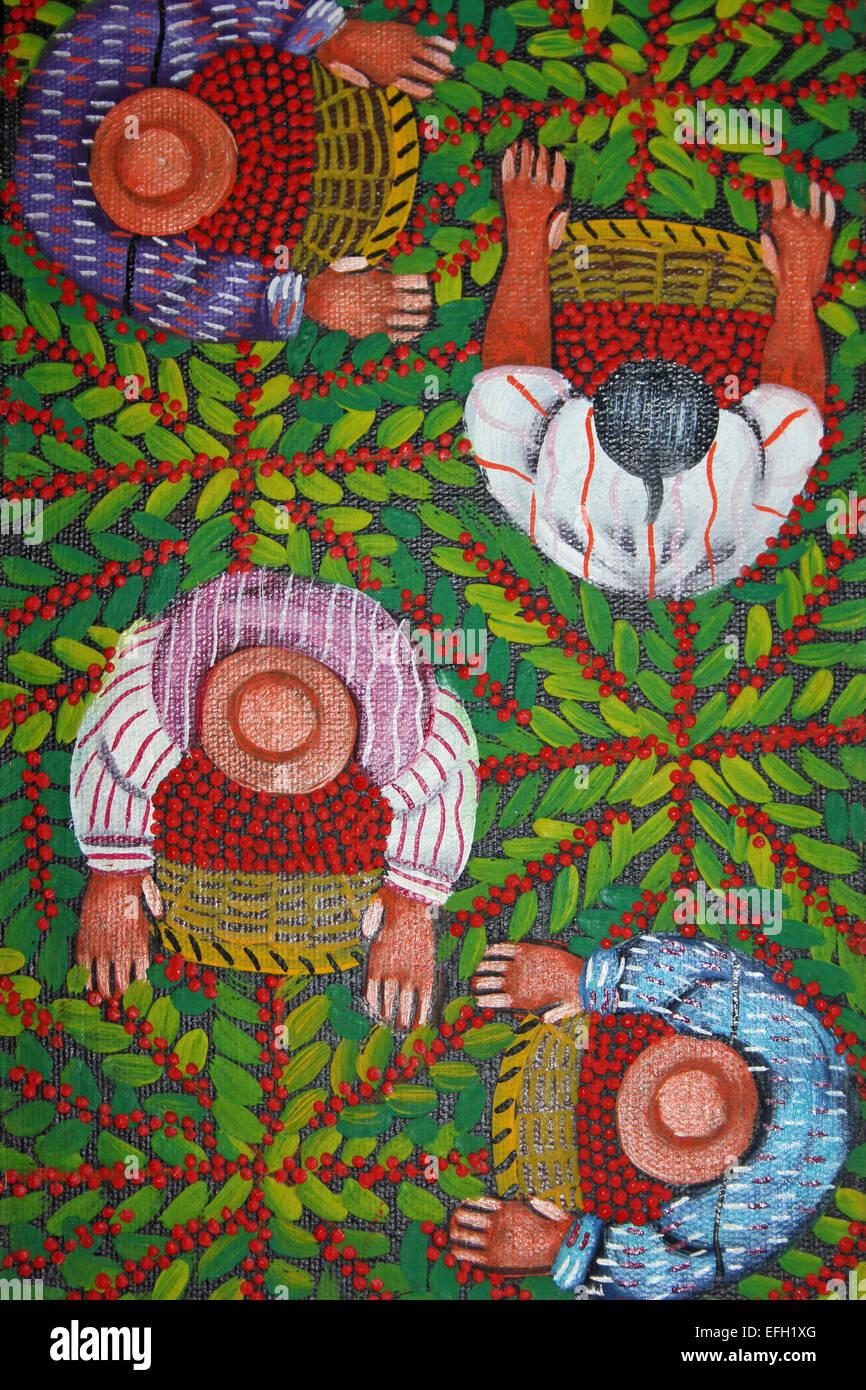 Guatemala la peinture à l'huile montrant cueilleurs de fruits Photo Stock