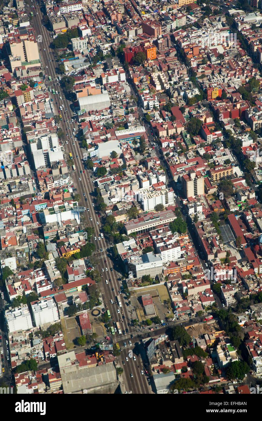 La ville de Mexico, Mexique - Une vue aérienne de la ville de Mexico. Photo Stock