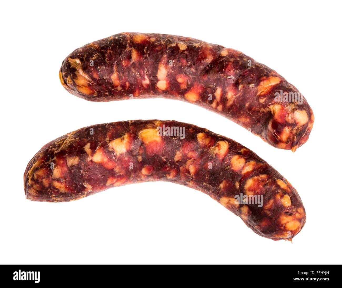 La chair à saucisse de cheval Cheval saucisses fines délicates de l'alimentation faible en gras et Photo Stock
