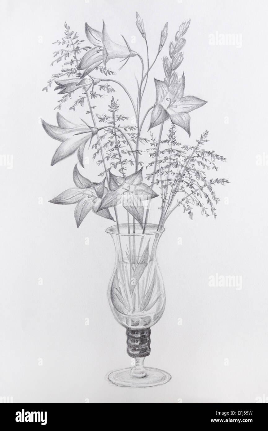 Dessin De Fleurs Dans Un Vase En Verre Gris Sur Papier De La