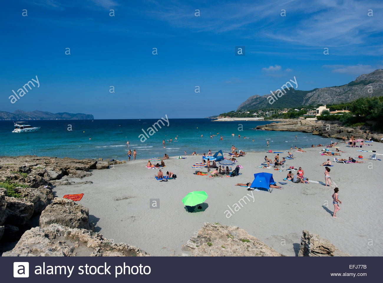 Mal Pas Plage, Playa de Sant Pere, Bonaire, Alcudia, Majorque, Baleares, Espagne Photo Stock