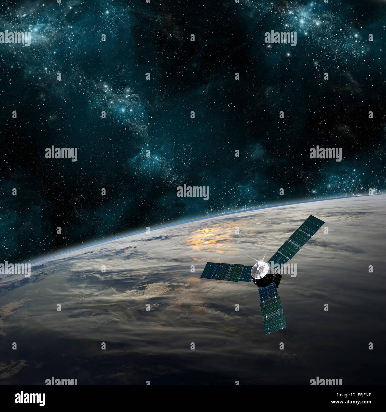 Une sonde spatiale mène une belle planète couverte de nuages dans l'espace. Plus de nuages tourbillonner Photo Stock
