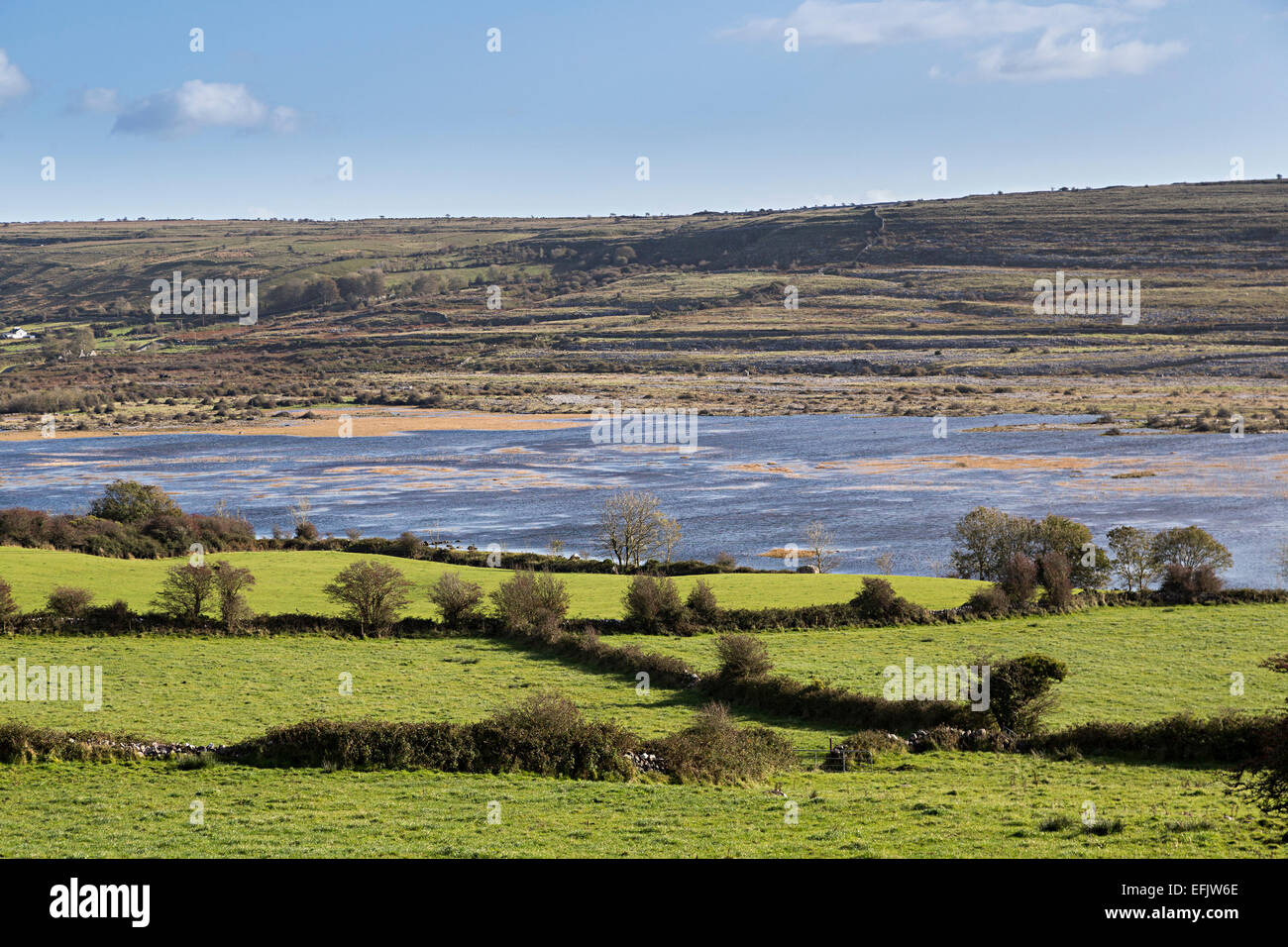 Carran Turlough lac saisonnier, le Burren, comté de Clare, Irlande Photo Stock