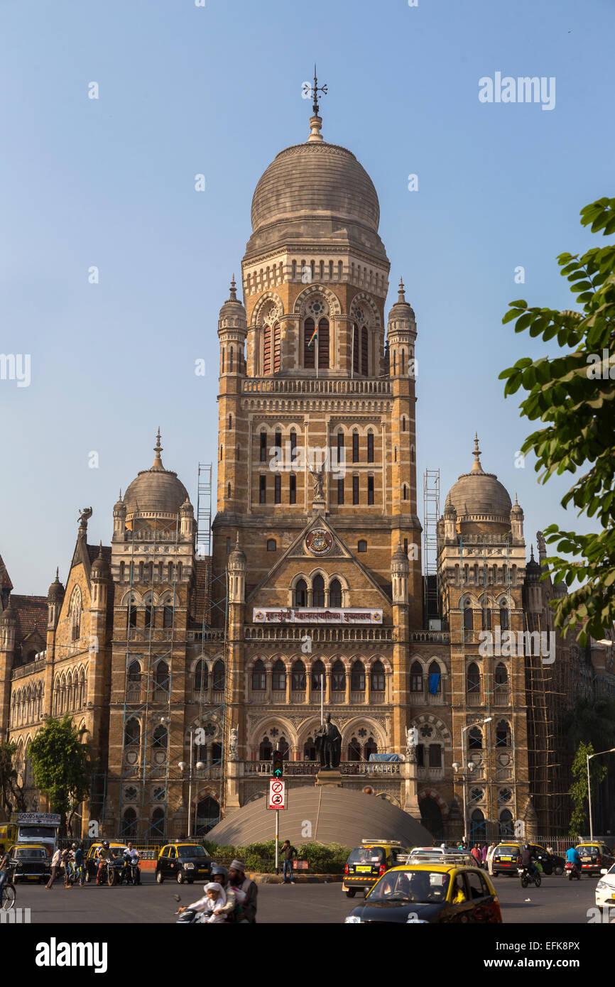 L'Inde, Mumbai, Maharashtra, Bâtiment Municipal Corporation Photo Stock