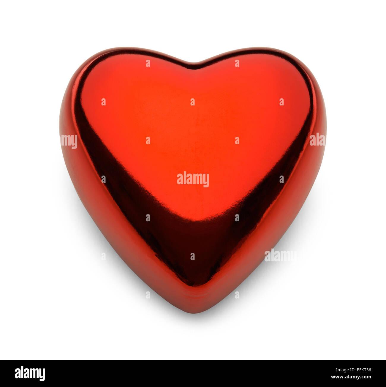 Saint Valentin coeur métal réfléchissant isolé sur fond blanc. Photo Stock