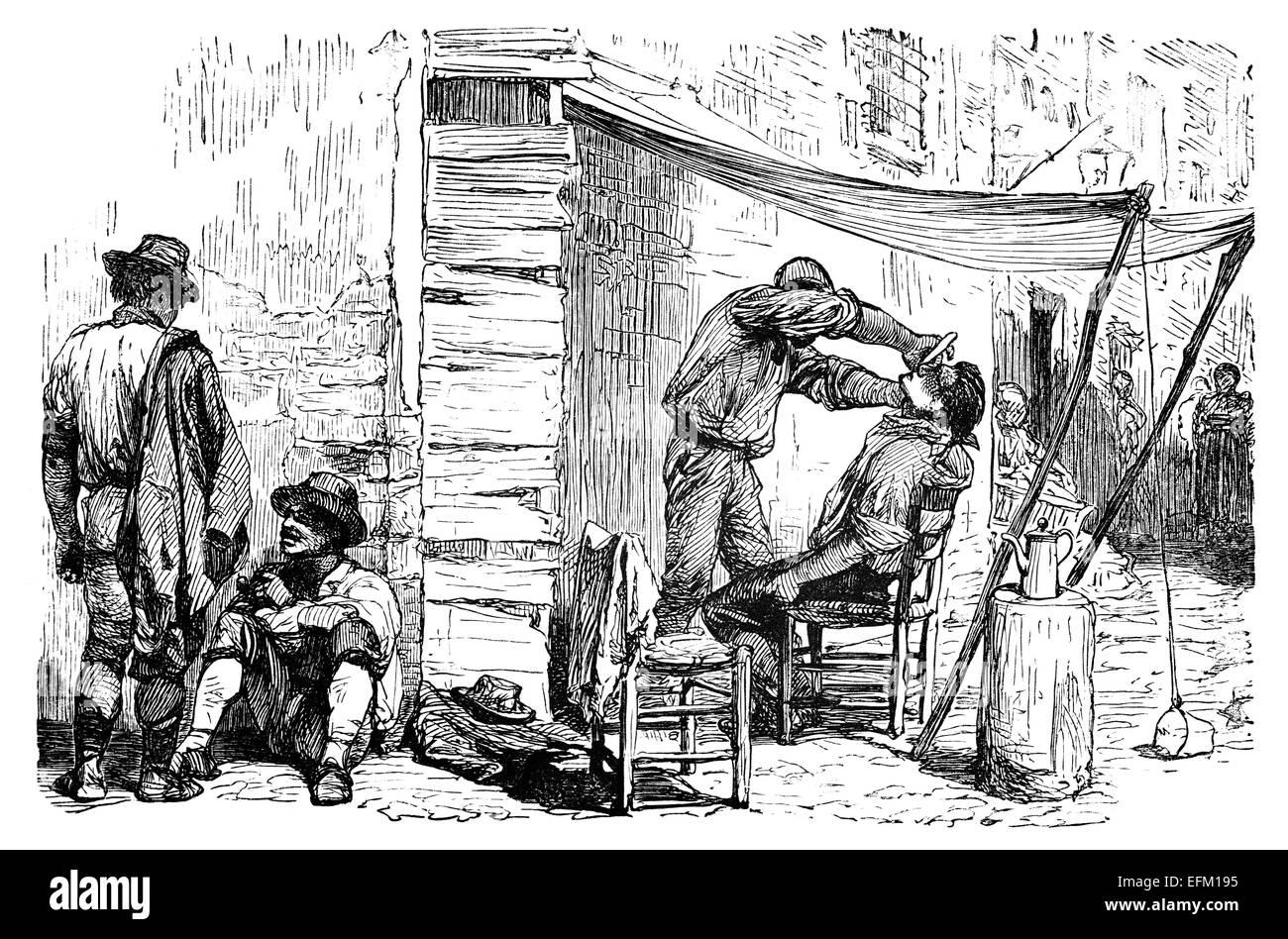 19ème siècle gravure d\u0027une scène de rue où un salon de