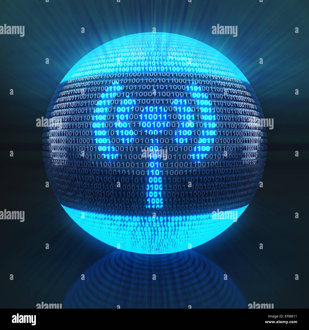 Connexion Wi-Fi au réseau local symbole sur globe formé par un code binaire Photo Stock