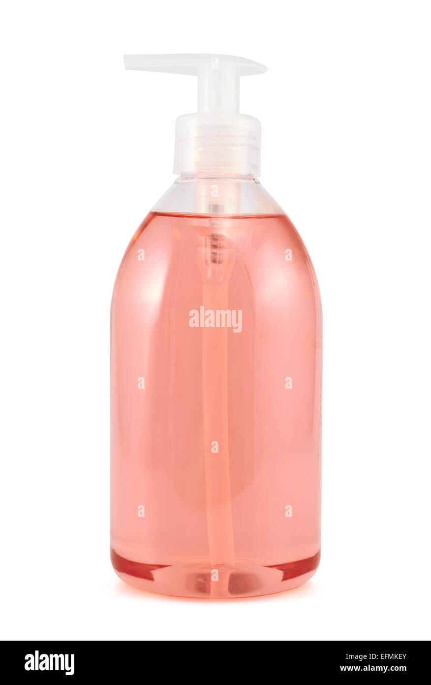 Bouteille de plastique isolé de savon liquide Photo Stock