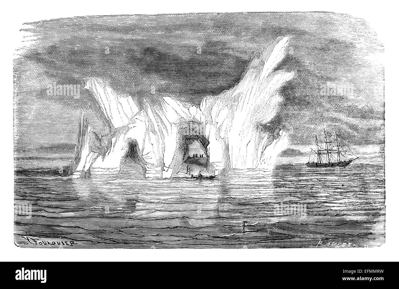 19ème siècle gravure de l'iceberg de l'Antarctique avec la mer et bateau à voile Banque D'Images