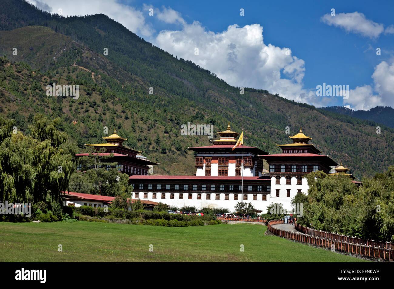 BU00048-00...BHOUTAN -l'Trashi Chhoe Dzong, les principaux édifices gouvernementaux dans la capitale Thimphu. Photo Stock
