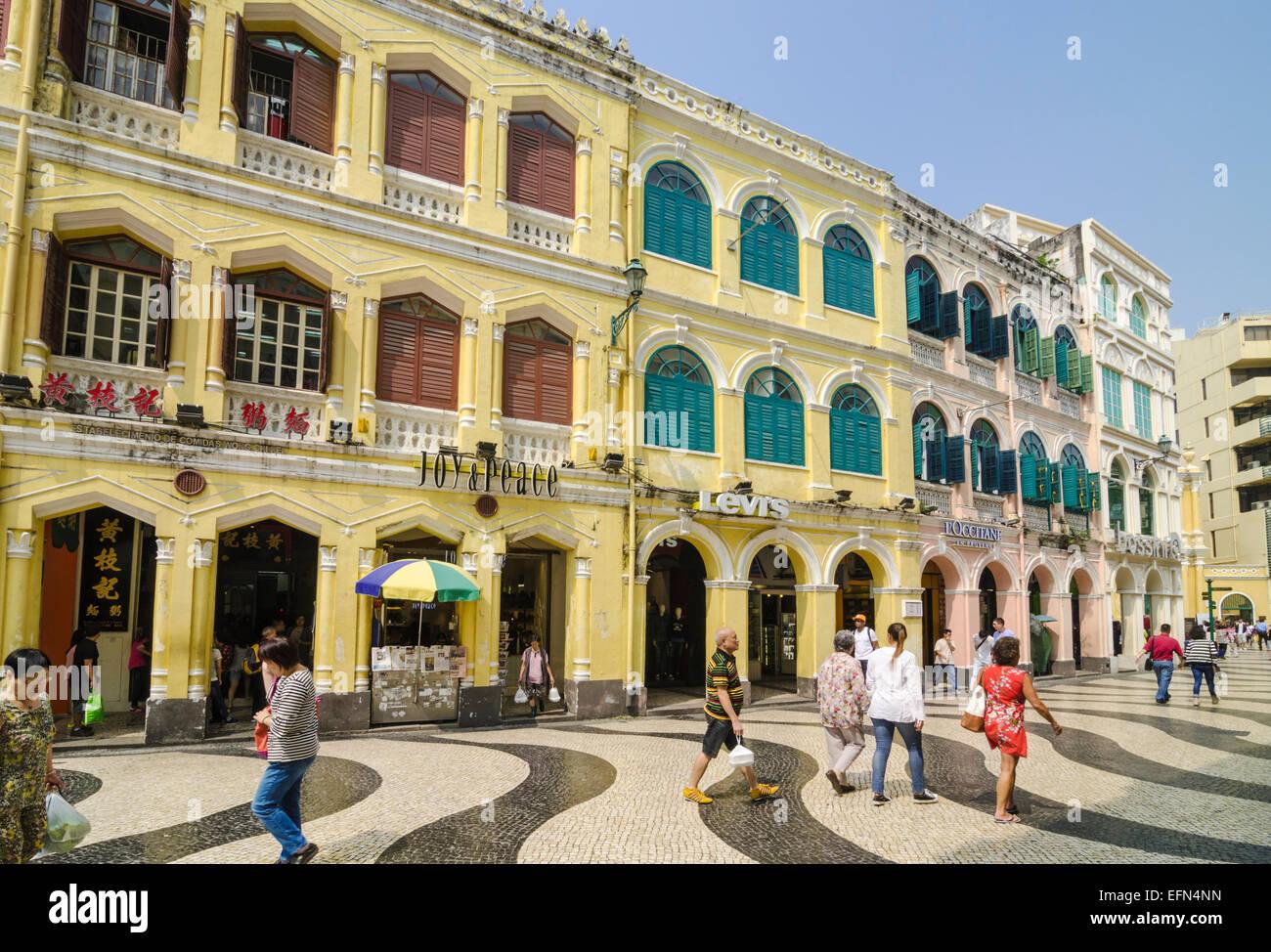 Pavés de mosaïque de la Place Senado, Macao, Chine Photo Stock