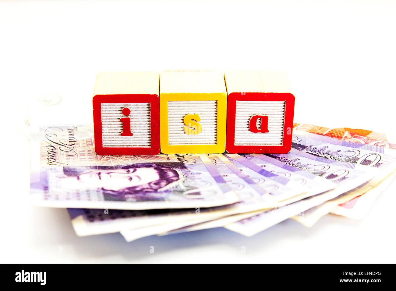 L'argent libre d'impôt à l'investissement isa investir en espèces banque actions compte Photo Stock