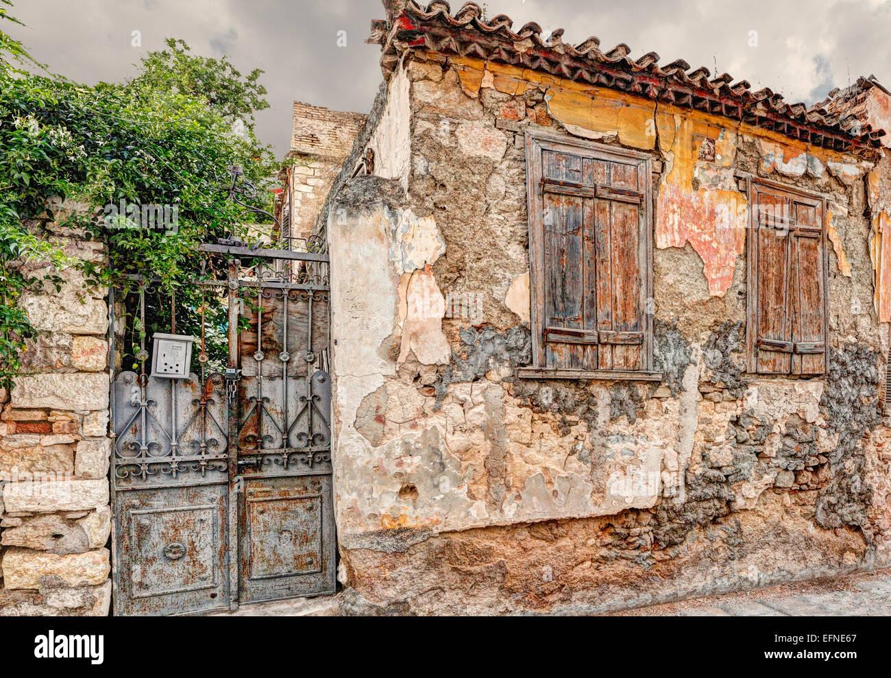 Maison en ruine de Plaka à Athènes, Grèce Photo Stock