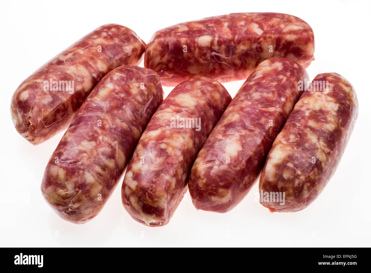 Saucisses italiennes brutes faites de sanglier, graisse de porc saucisse fine délicate de l'alimentation Photo Stock
