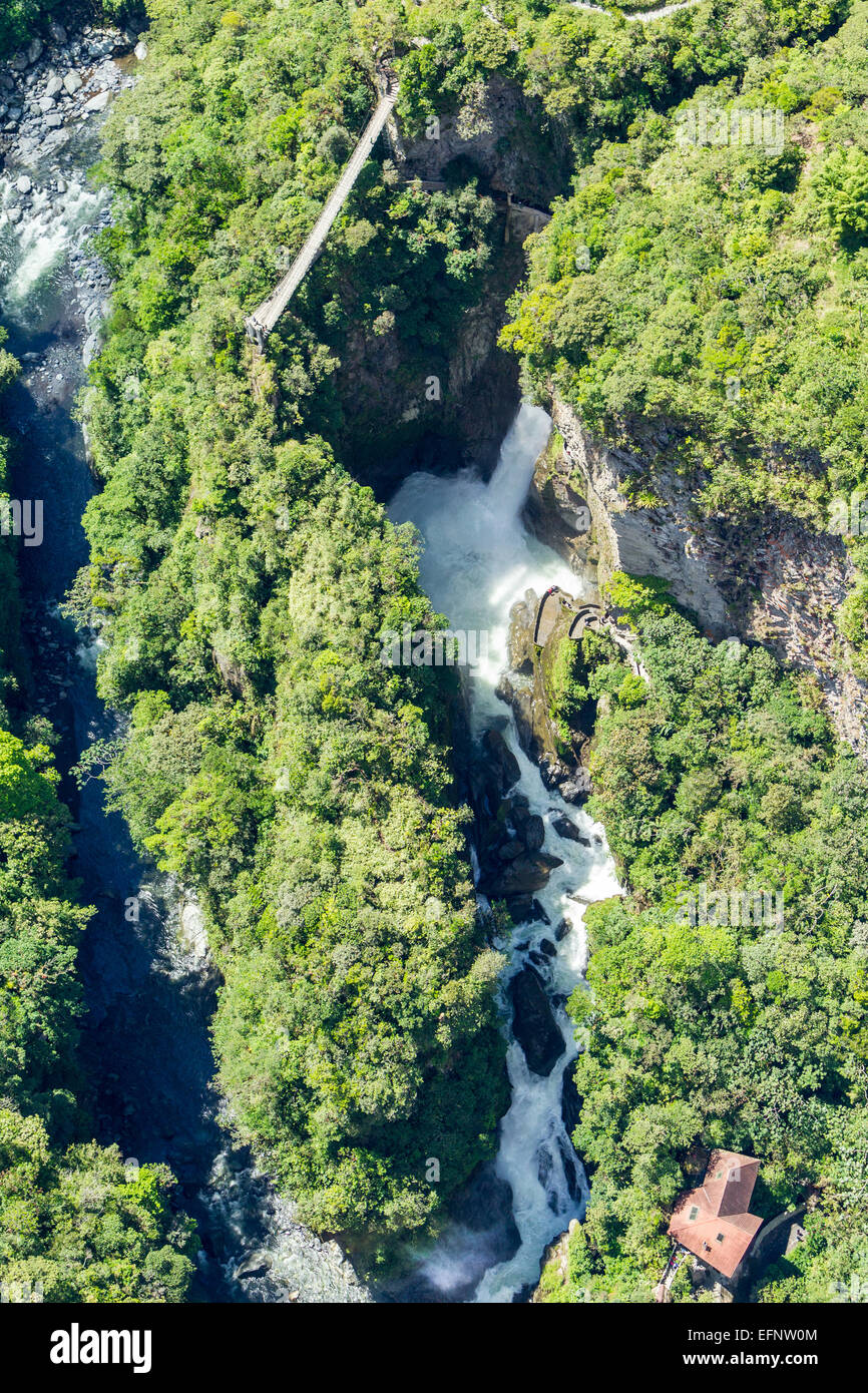 Cascade Pailon Del Diablo Tungurahua Equateur Province complexe Vue aérienne Photo Stock