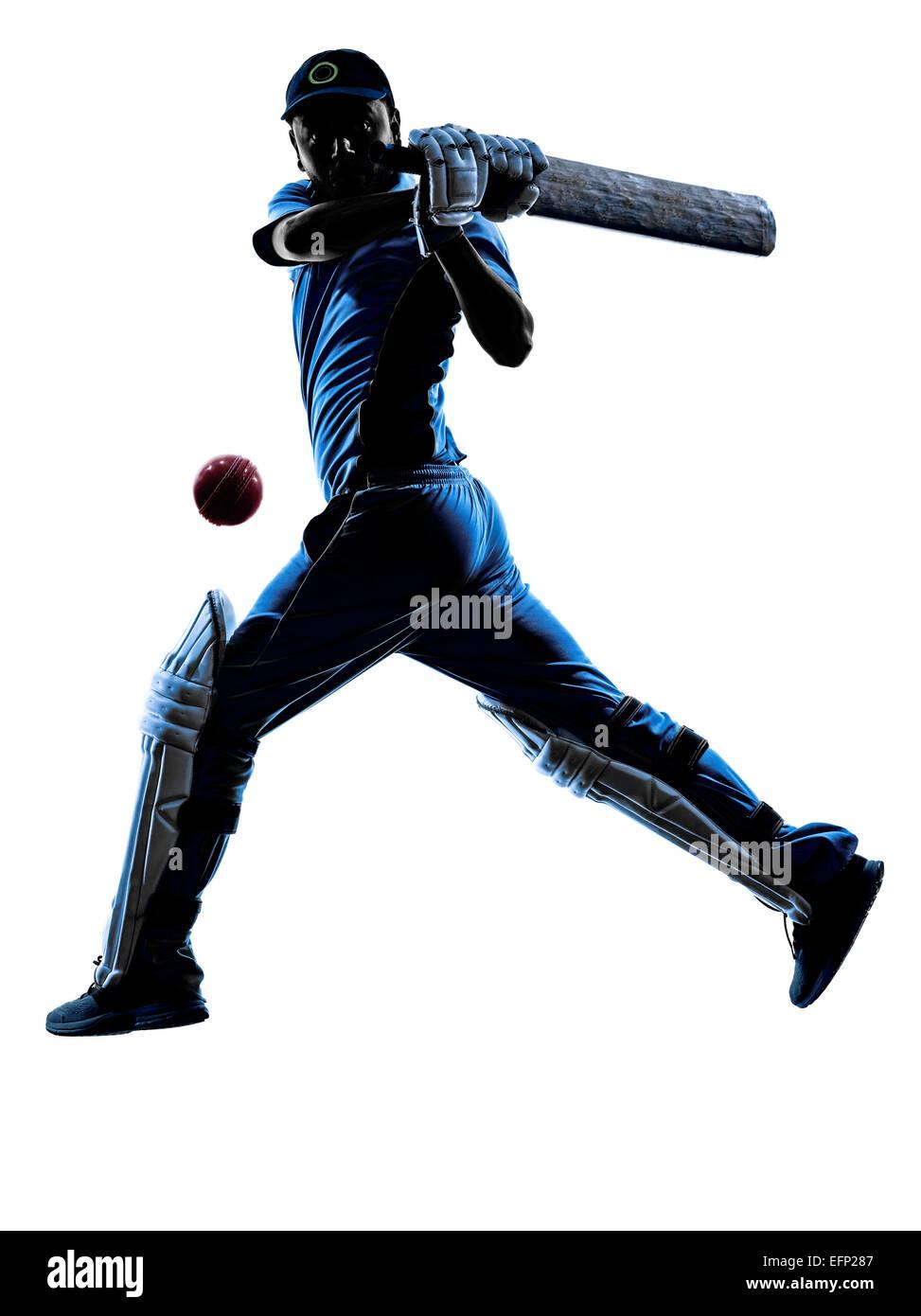 Joueur de cricket en silhouette batteur ombre sur fond blanc Photo Stock