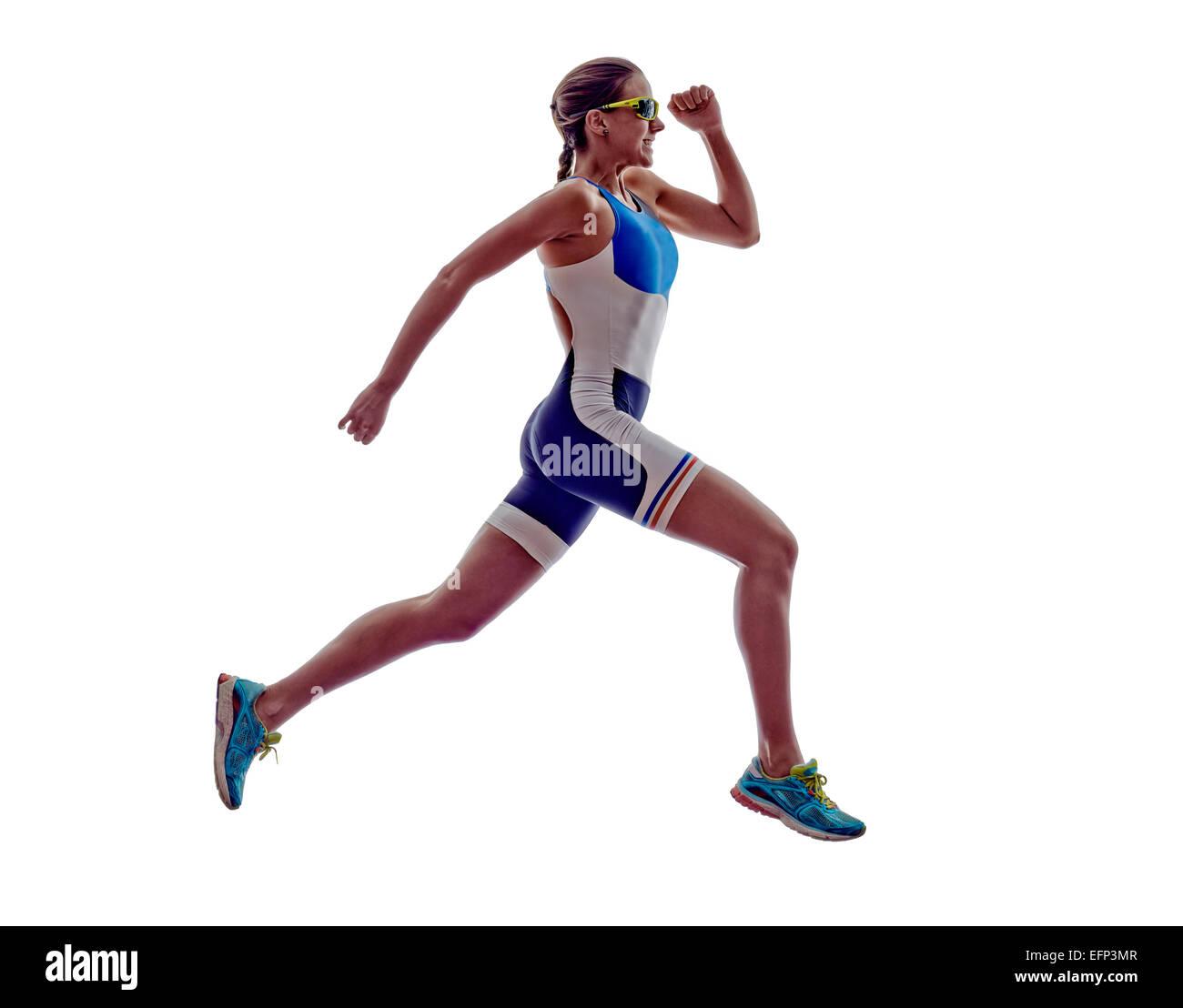 Femme triathlon Ironman runner exécuté sur fond blanc Photo Stock