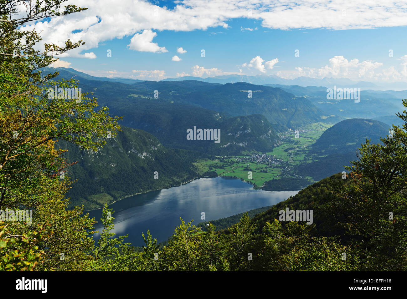 Lac de Bohinj, Bohimj vallée, Alpes Juliennes, parc national du Triglav, en Slovénie, Europe Photo Stock