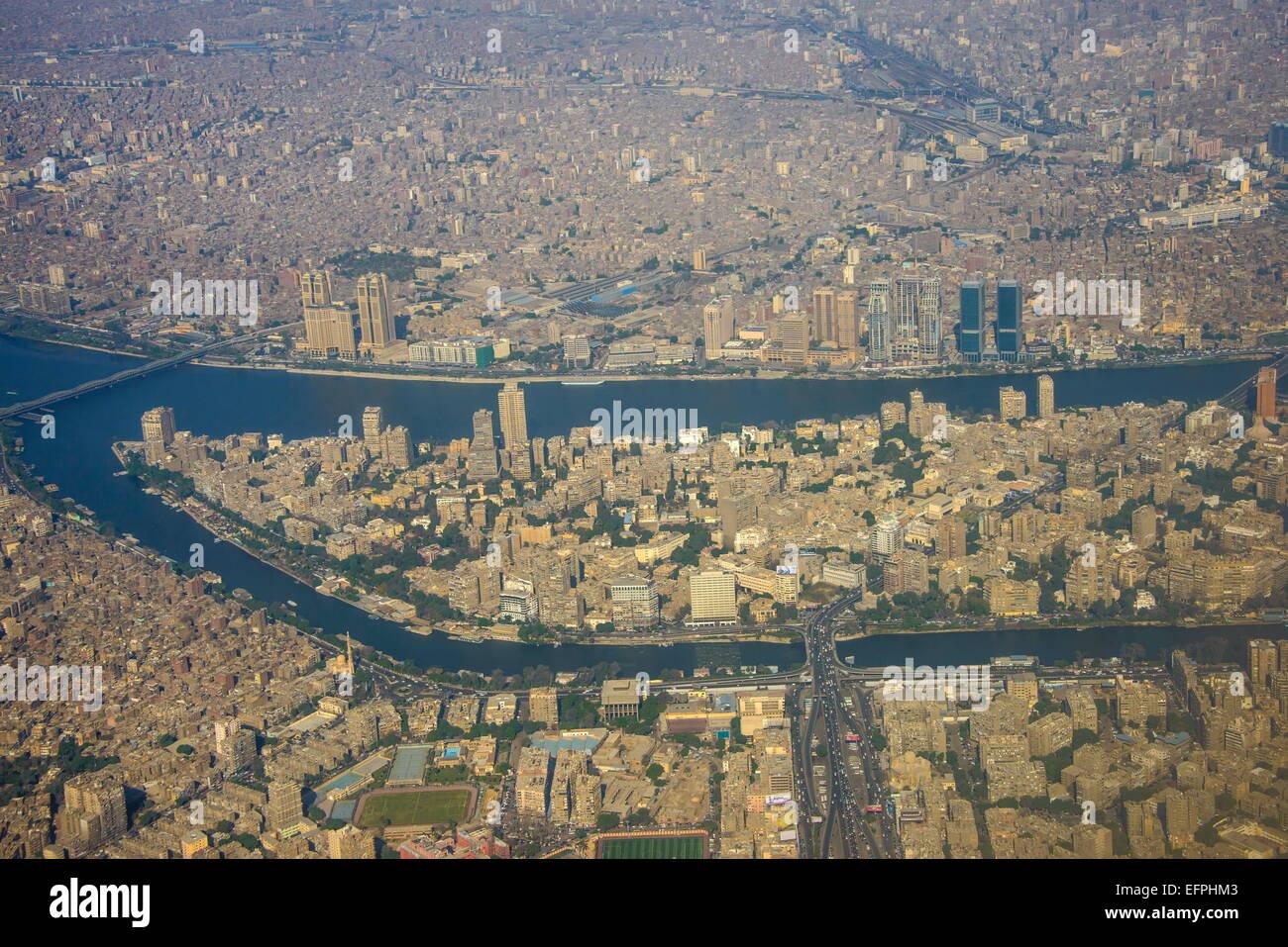 De l'antenne centre du Caire et sur le Nil, l'Egypte, l'Afrique du Nord, Afrique Photo Stock