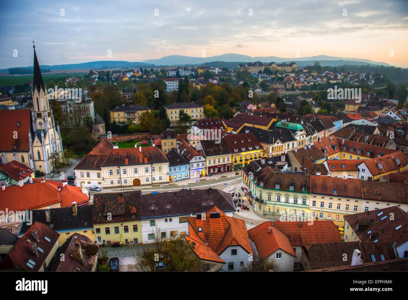 Vue de la ville de Melk à partir de l'Abbaye de Melk, l'abbaye bénédictine, Melk, Paysage Photo Stock