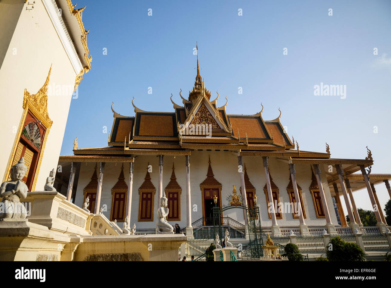 La Pagode d'argent, du Palais Royal, Phnom Penh, Cambodge. Banque D'Images