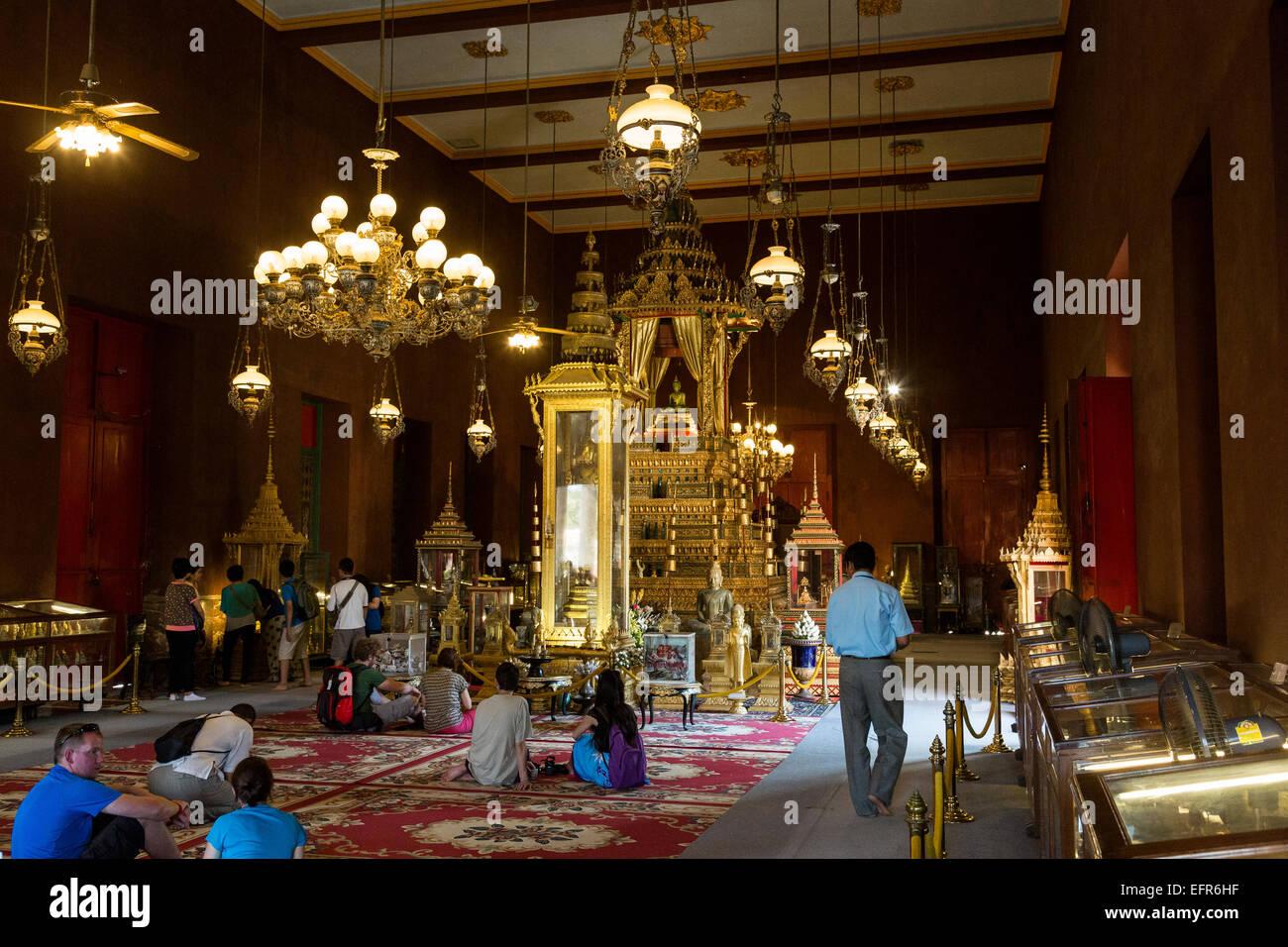 L'intérieur de la Pagode d'argent, du Palais Royal, Phnom Penh, Cambodge. Banque D'Images