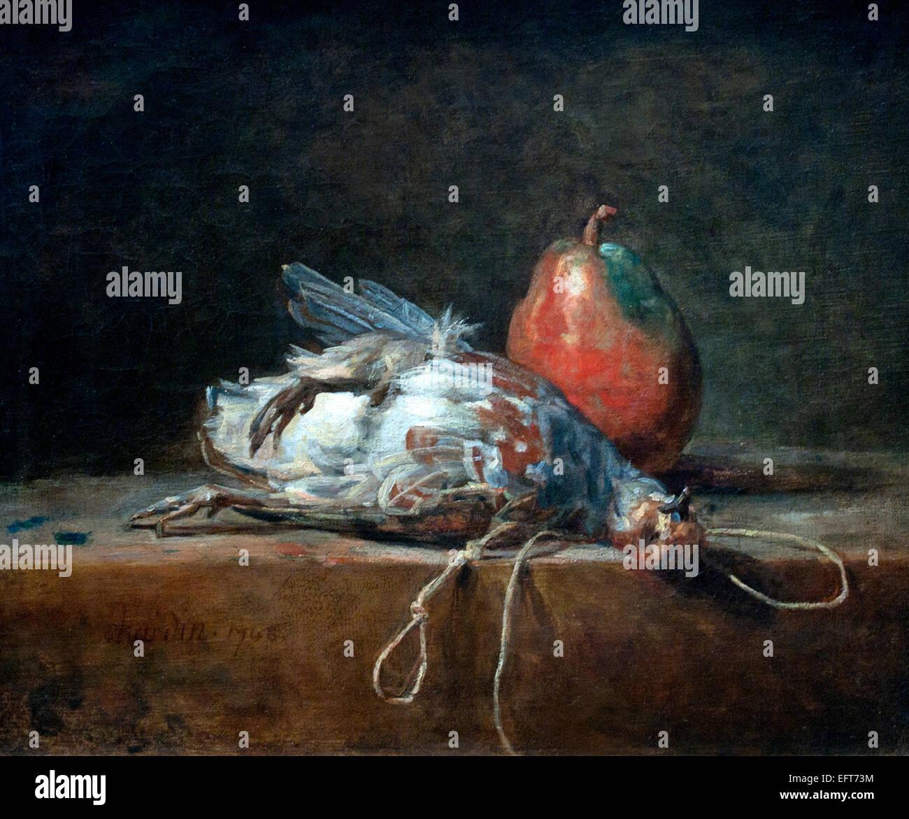 Nature morte à la perdrix et le poirier 1748 JEAN BAPTISTE SIMÉON CHARDIN 1699 -1779 Français France Photo Stock