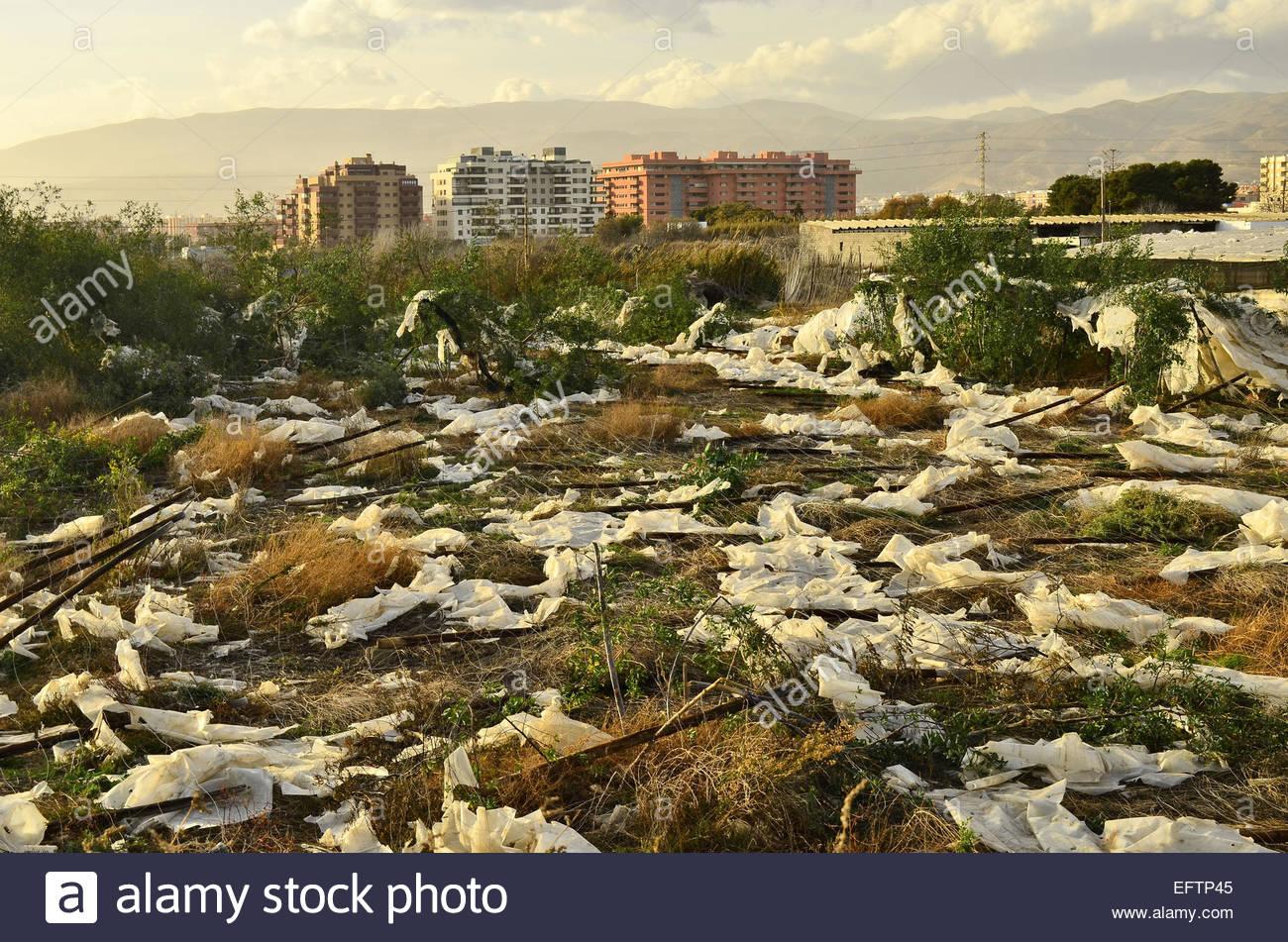 Les déchets plastiques provenant des serres laissés sur le terrain, Almeria Espagne du sud de l'Europe. Photo Stock
