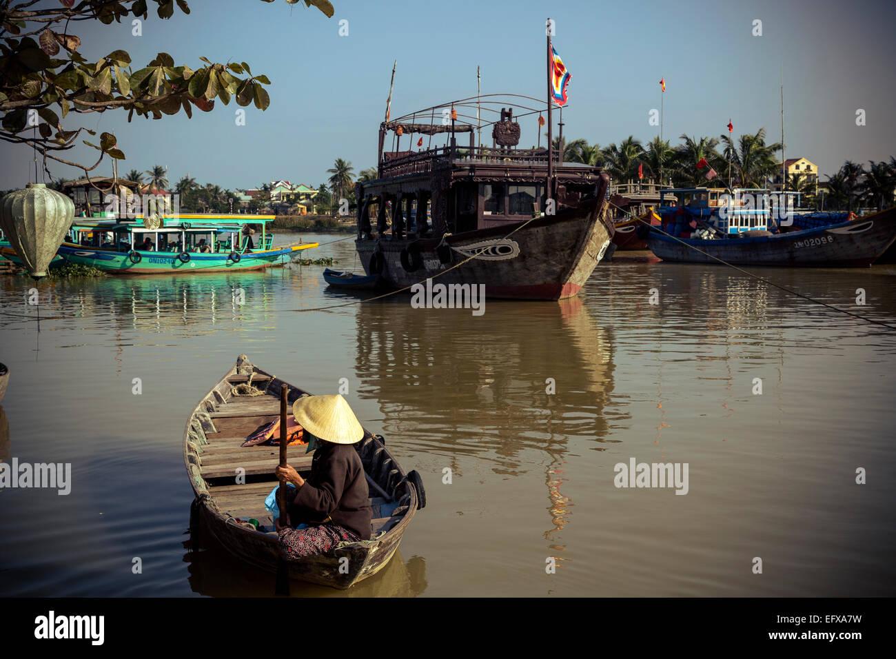Bateaux à la rivière Thu Bon, Hoi An, Vietnam. Photo Stock