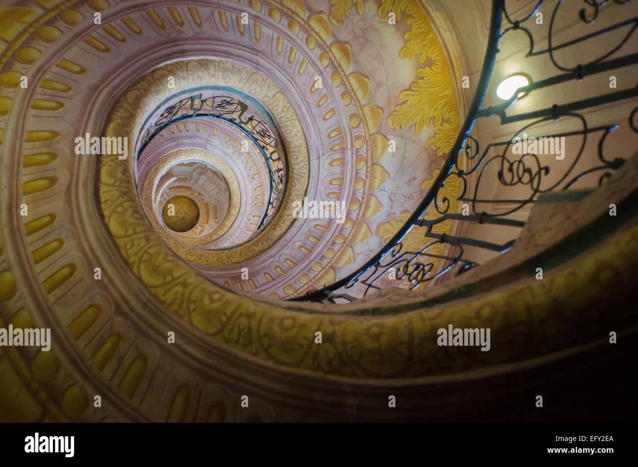 L'Autriche Abbaye Bénédictine Abbaye de Melk est renommée pour son escalier en spirale vertigineuse. Photo Stock