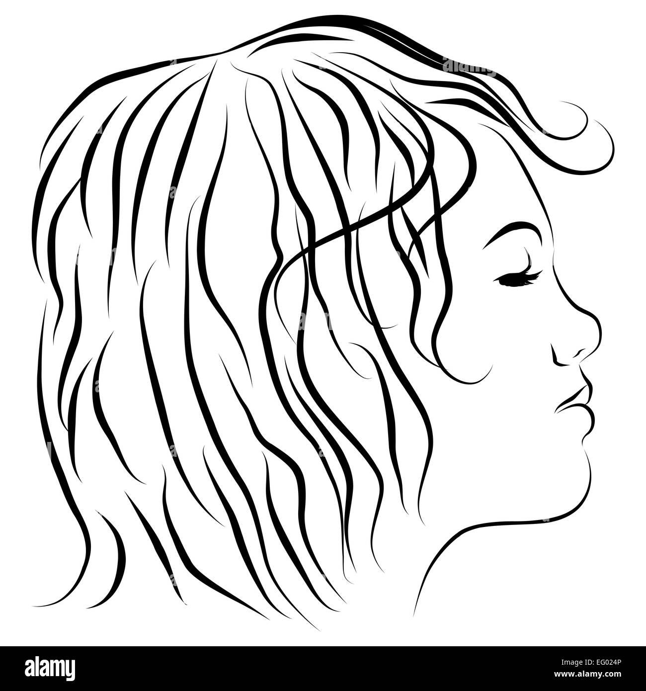 L Image D Une Tête De Femme De Profil Dessin Banque D Images Photo