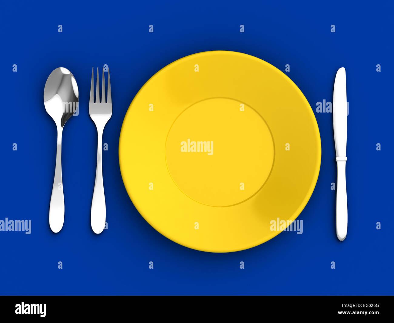 3D render of couteau, cuillère, fourchette et plaque jaune sur fond bleu Photo Stock
