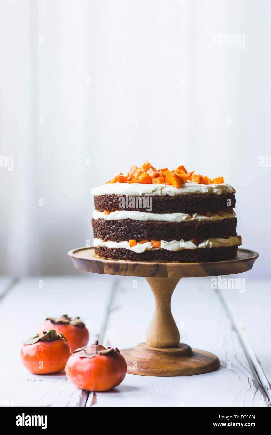 Gâteau de couche de kaki Photo Stock