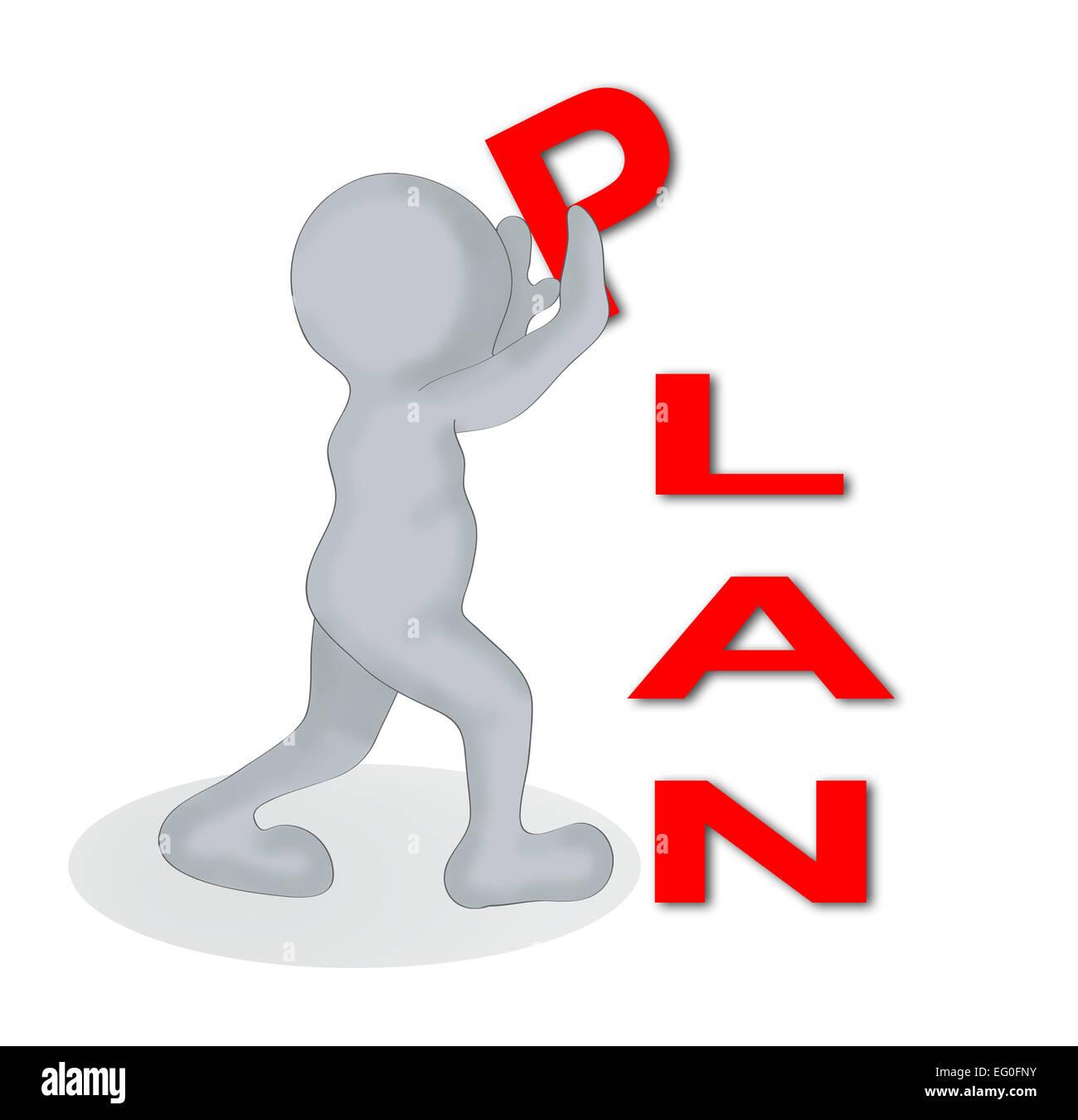 2D man et une lettres P, L ,un ,N faire mot ' ' plan fait en 2d software Photo Stock