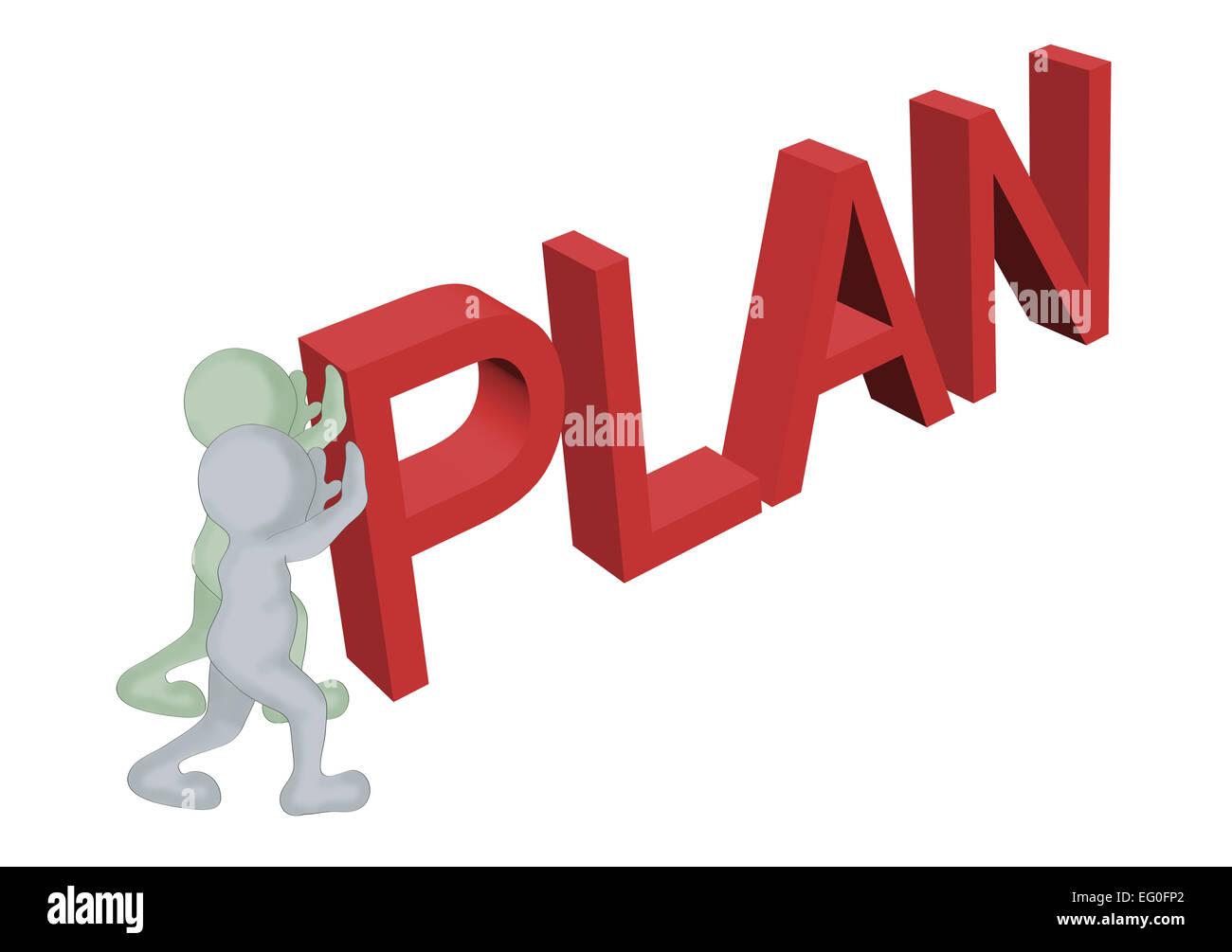 2D man et une lettres P, L ,un ,N faire mot ' ' plan en 3D logiciel Photo Stock