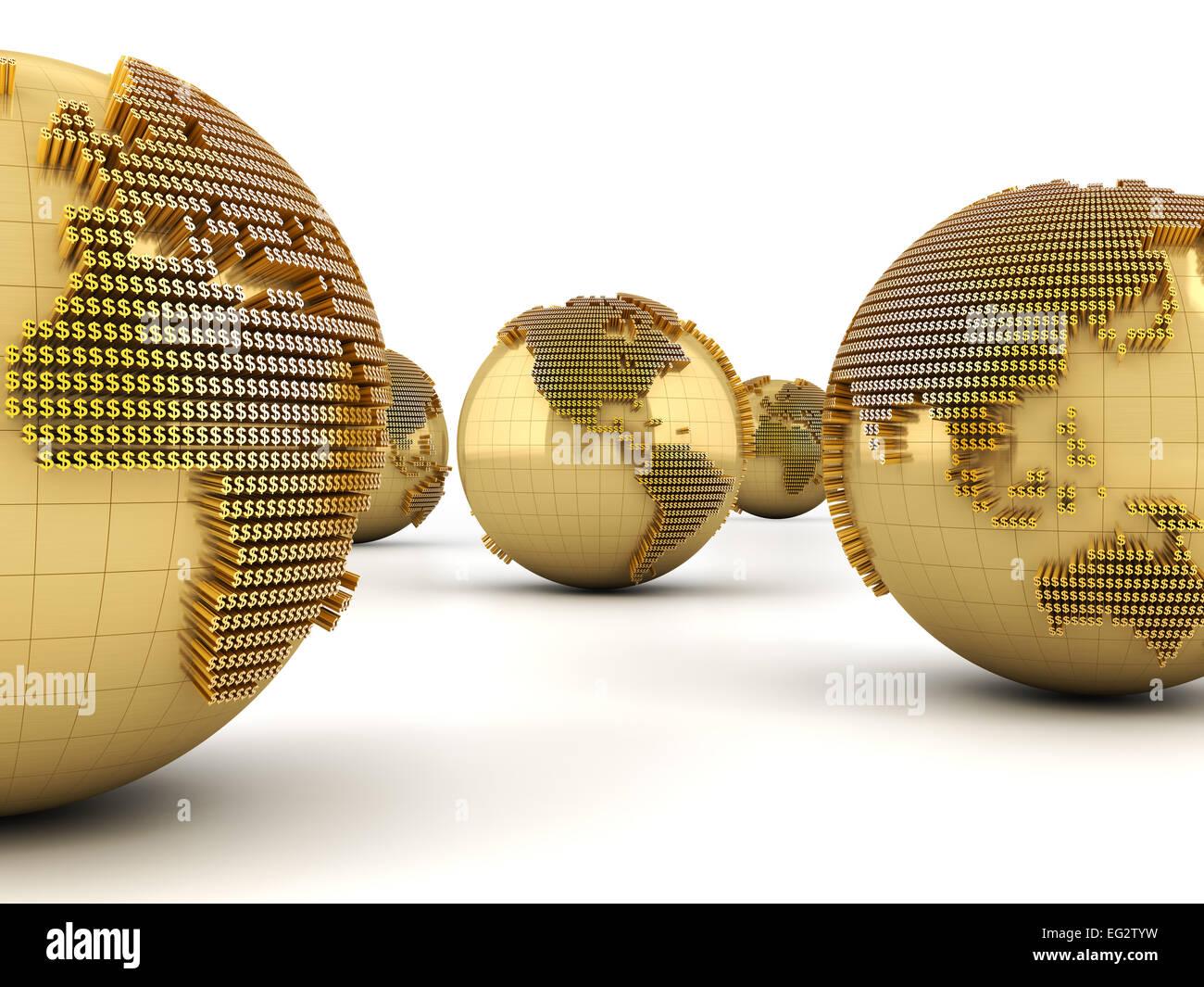 Argent concept Monde Photo Stock