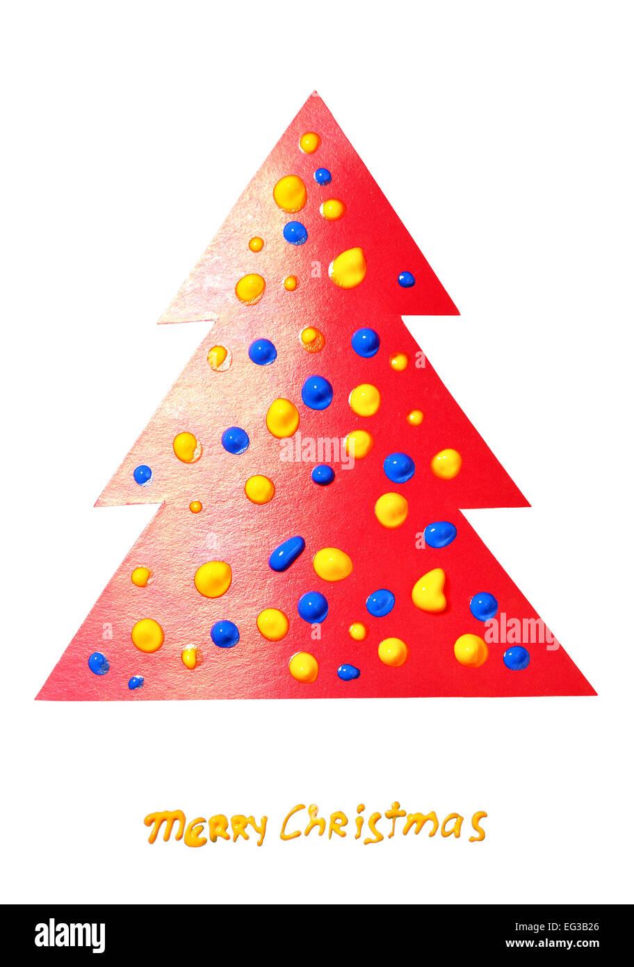 Papier rouge isolé de l'arbre de Noël sur le fond blanc Banque D'Images